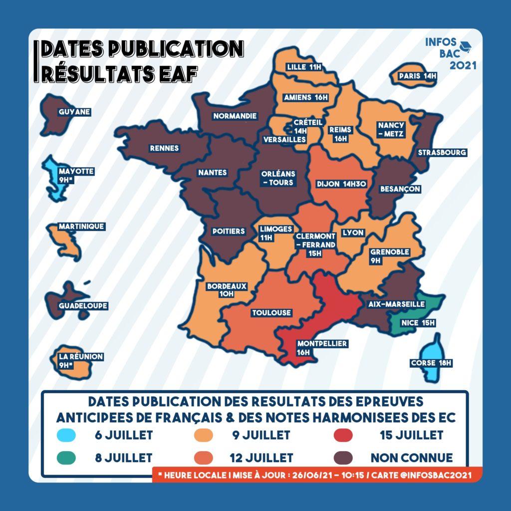 Dates de publications des résultats épreuves EAF & notes harmoniséesEC